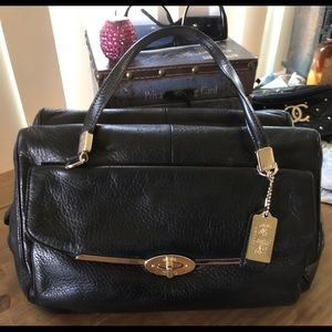 Coach black leather pebble handbag